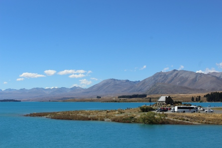 Lake Tekapo and the famous Church of the Good Shepherd by day.